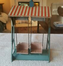 Antique tin toy swing set DOUBLE SWINGS made in GERMANY for small dolls WORKS