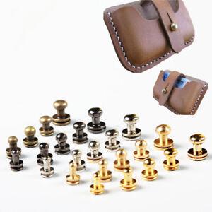 10Set Solid brass sam brown browne button screw studs round rivet UK