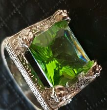 HUGE 925 SILVER OVERLAY GREEN EMERALD CUT PERIDOT COLOURED COCKTAIL DRESS RING 8
