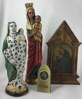 LOT D OBJETS RELIGIEUX VIERGE EN BOIS VIERGE XVIII EME PANNEAU EN BOIS H215
