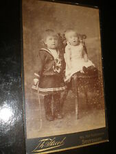 Cdv old photograph girls toy whip by jacob at Stuttgart Germany c1890s