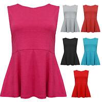 Womens Plain Jersey Basic Peplum Top Cerise Grey Black Red Coral Ladies New 8-14