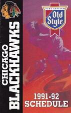 1991-92 CHICAGO BLACKHAWKS HOCKEY POCKET SCHEDULE