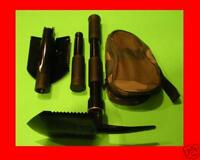 2 Military Type FOLDING SHOVELS Camp Tool Survival Pick + Case Camping Shovel