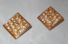 MINT - VINTAGE SWAROVSKY SWAN LOGO GOLD TONE DIAMOND-SHAPE CLIP-ON EARRINGS