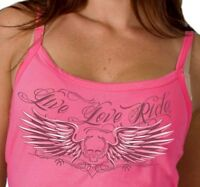 Motorcycle Ladies Tank Top Skull Live Love Ride Spaghetti Strap Pink Biker New