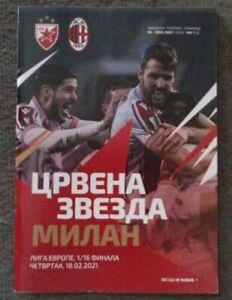 2021 Red Star Belgrade v AC Milan Football Programme UEFA LE 1/16 Round 1st Game