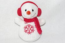 "Dandee Snowflake Snowman Red Earmuffs Christmas Stuffed Baby Plush Scarf Toy 7"""