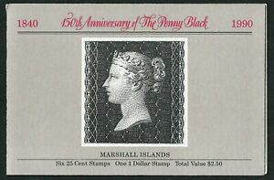 MARSHALL ISLANDS, SCOTT # 370-376 (376A), COMPLETE BOOKLET OF PENNY BLACK 1990