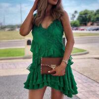 ALEXIS Lakshmi Ruffle Fringe Hem Embroidered Floral Lace Mini Dress $568 Green