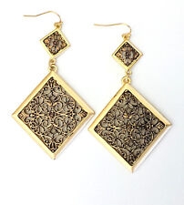 Long Copper and Gold Toned Floral Filigree Diamond Shaped Dangle Earrings