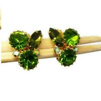 Vintage Rhinestone Clip Earrings Gold Pie Crust Prong Set Green AB
