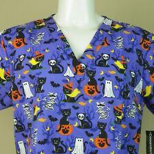 Nurse Scrub Unisex Halloween Large New Witch Ghost Black Cats Hospital Clinic