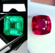 Loose Gemstone Natural Certified 8 to 10 cts Emerald & Ruby Mixed Shape Pair