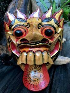 Mask Tongue Dragon Decor Wall Hang Tribal Hand Carved Wooden Tiki Barong Bali L