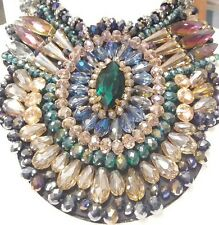 WOW! COLORFUL FACETED AB GLASS CRYSTAL BEADS HUGE RHINESTONE STATEMENT NECKLACE