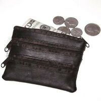 Black Leather Change Holder Key Ring Card Coin Purse
