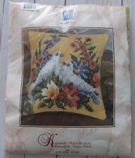 Two Doves Vervaco Needlepoint Pillow Kit Quick Stitch 16x16 NIP Vintage