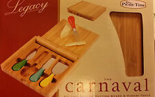 New Picnic Time Carnaval Bamboo Cheese Board/Tool Set-ship free