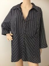 MODA Black Grey Pin Stripe Thin Soft Stretch Button Up Top Plus Size 22