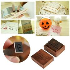 28Pcs Wood Uppercase Alphabet Letter Rubber Stamps with Small Vintage Wooden Box