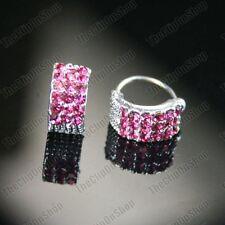 COMFY U CLIP ON silver HUGGIE pink CRYSTAL non-pierced studs EARRINGS rhinestone