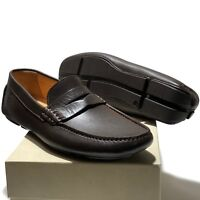 Armani Men's Brown Leather Penny Loafers Driver's 9.5 42.5 Shoes Casual Fashion