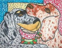 ENGLISH SETTER Drinking Coffee Dog Pop Outsider Vintage Art 8 x 10 Signed Print