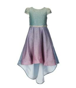 """NEW Rare Editions Girls Size 6X """"GREEN-BLUE-PURPLE OMBRE"""" High-Low Dress NWT"""