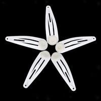 50x Molletta Capelli Metallo Fermacapelli Fermaglip Snap Clips 40mm Bianco