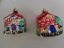 HOUSE BUILDING BLOWN GLASS ORNAMENTS - SET OF 2