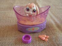 Littlest Pet Shop #1304 White Pink Bunny Rabbit Purple Eyes w/ Accessories BB18