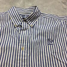 90s Vtg Notre Dame Fighting Irish Striped Button Shirt L Football Basketball
