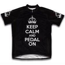 Keep Calm Cycling Jersey Retro Road Pro Clothing MTB Short Sleeve Unisex