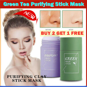Green Tea Purifying Clay Stick Masks Oil Control Anti-Acne Eggplant Fine Solid~