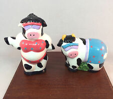 Vintage Russ Cow Couple Wearing Bikini Bathing Suit Glasses Salt Pepper Shakers