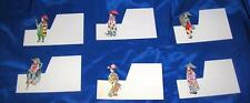 SET 6 VTG PLACE CARDS ORIENTAL JAPAN FIGURES, GEISHA GIRLS ALL DIFFERENT, UNUSED