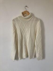 NWOT Folk Cream White Venus Cable Knit Jumper Roll Neck Size 3 Medium Wool Blend