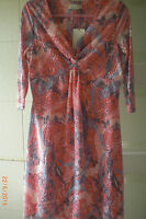 M&S Per Una Willow Dress Size 14 Copper rose floral twisted front  neckline BNWT