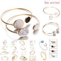 Fashion Women Punk Marble Open Cuff Bracelet Bangle Chain Wristband Jewelry Gift