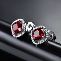 HUCHE Luxury Red Sapphire Ruby Square 18K Silver Gold Filled Stud Women Earrings