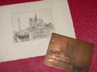 ATELIER PIERRE-ANTOINE CLUZEAU CUIVRE ORIGINAL + gravure NOTRE-DAME 1930 PARIS