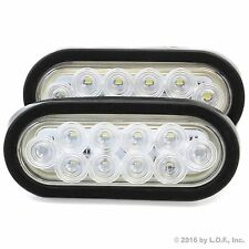 "(2) 6"" Oval Clear/White LED Reverse Back Up Light Flush Mount Trailer Truck"