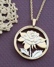 "Rose Pendant & Necklace.Hand cut Rose Medallion 1-1/8"" diameter( # 775 )"