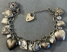 Vintage Sterling 925 Silver (23) Puffy Heart Repousse Charm Bracelet w/ Padlock