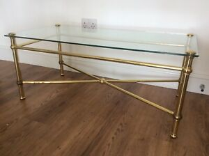 Vintage 1950's - 60's French brass oblong coffee occasional table