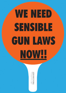We Need Sensible Gun Laws Now Hand Held Sign by Mansavage Productions