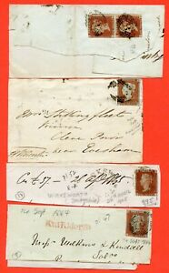 Victoria 1841 1d Red Selection On Pieces/Fronts. Includes A Pair.