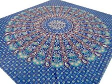 Bedspread Indian Elephants Queen Blue Cotton Throw Wall hanging India Paisley A