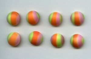 """8 AWESOME MATCHING GLASS buttons--LIME--ORANGE & PINK STRIPE--9/16"""""""